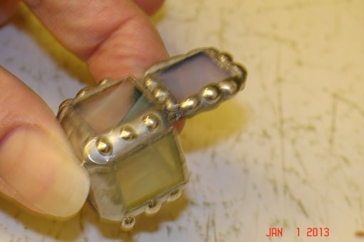 Custom Made Micro Mini Stained Glass Hindged Box In Irridescent White 1/2 X 1/2 Glass Squares