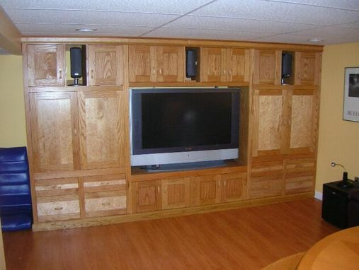 Custom Made Oak And Maple Entertainment Center