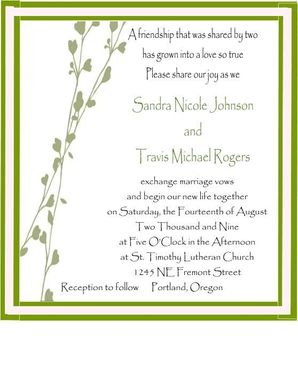 Custom Made Spring Vine Graphic Pocketfold Wedding Invite Set