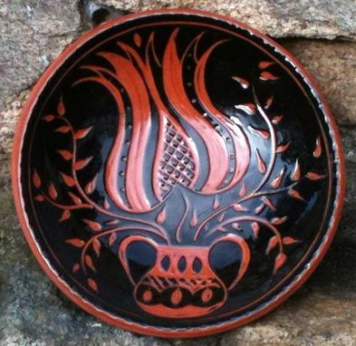 Custom Made Ceramic Plate, Black Background, With Red Flowers In An Urn