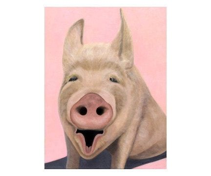 Custom Made Pig Art - Small Pig Print - Funny Animal Art Print - Nursery Room Art - Children's Art