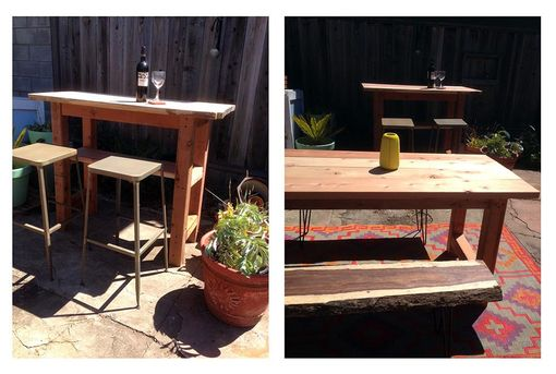 Custom Made Outdoor Redwood Farm Table And Matching Bar With Live Edge Redwood Top