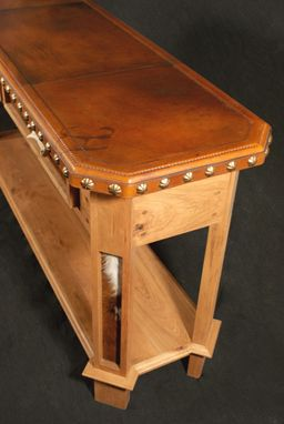 Custom Made Leather Top Entry Table With Antler Drawer Pulls