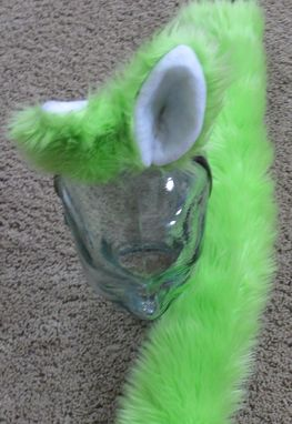 Custom Made Lime Green Luxury Shag Fox Fur Ear & Tail Set In 2 Variations