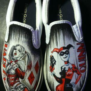 92200f21e6ee Hand Drawn Harley Quinn Custom Shoes