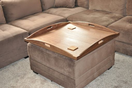 Custom Made Beautiful Walnut Custom Ottoman Tray