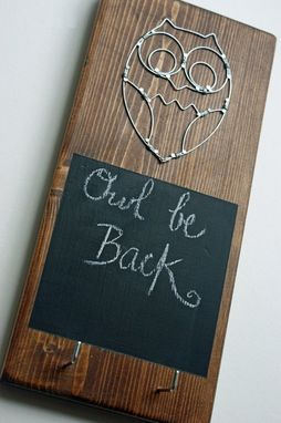 Custom Made English Chestnut Wired Owl Key Rack With Chalk Board