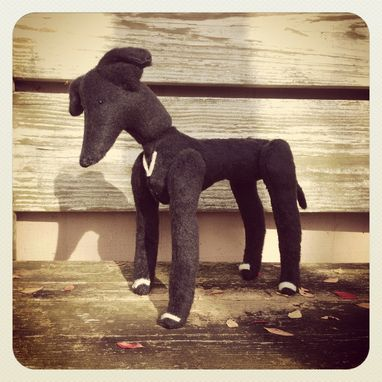 Custom Made Jointed Dog Greyhound /Fur Made From Recycled Bottles /Vintage Style /Hand Stitched Details