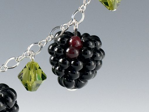 Custom Made Triple Glass Blackberry Necklace With Swarovski Elements Crystals