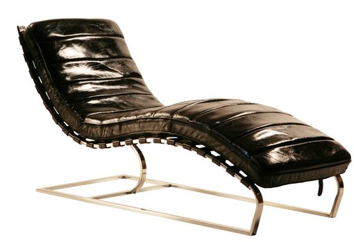 Custom Made Philly Black Leather Channeled Chaise