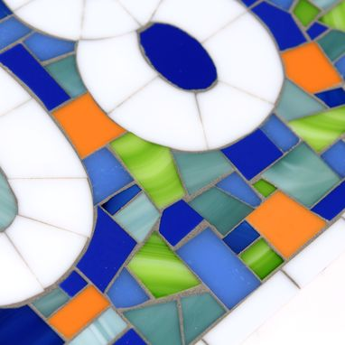 Custom Made Custom Outdoor Mosaic Address Plaque In Blues, Green & Orange Stained Glass Tiles, House Numbers