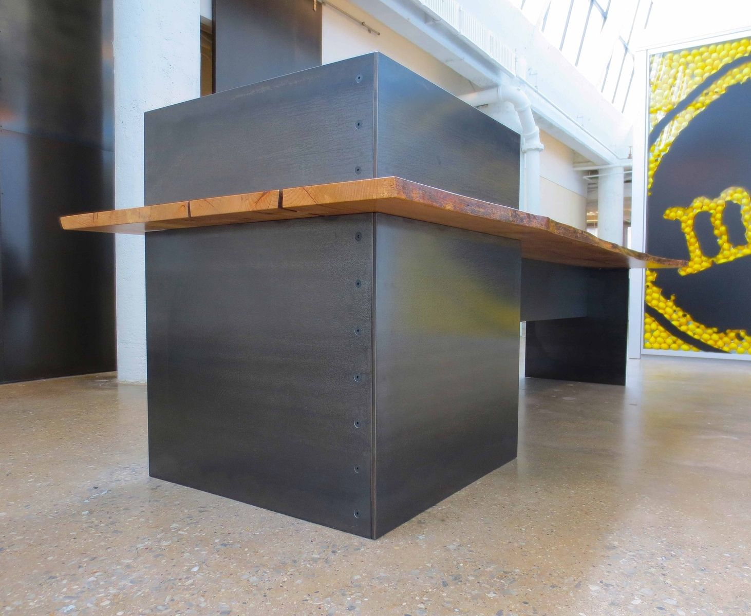 Hand Made Metal Modern Plate Steel Reception Desk With Maple Live Edge Slab Top By Andrew Stan Design Custommade Com