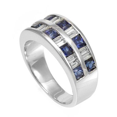 Custom Made Blue Sapphire And Baguette Diamonds In 14k White Gold Band, Wedding Band