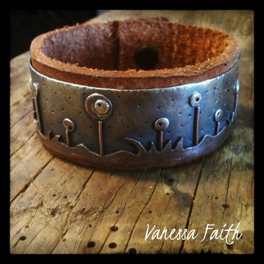 Custom Made Leather Copper Sterling Silver Cuff Flower Garden
