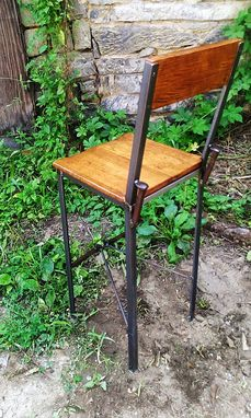 Custom Made Urban Style Reclaimed Wood Bar Stools With Industrial Metal Legs And Railroad Spikes