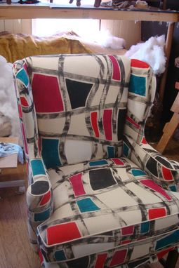 Custom Made Wing Chair With Abstract Geo Print