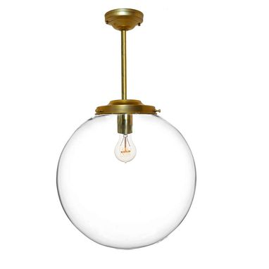 "Custom Made 16"" Clear Blown Glass Globe Downrod Pendant Light- Brass"