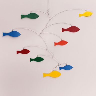 Custom Made Rainbow Mobile School Of Fish - Kinetic Art Mobile Sculpture By Carolyn Weir