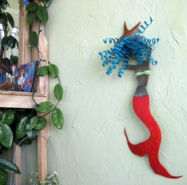 "Custom Made Handmade Upcycled Metal Mermaid Wall Art Sculpture ""Hanna''"
