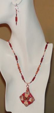 Custom Made Butterfly Pendant Necklace With Carnelian, Sunstone And Swarovski Crystals In Copper