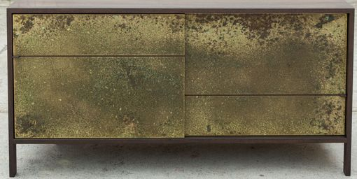 Custom Made Walnut Credenza With Patinated Brass Doors