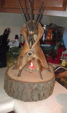 Custom Made Buffalo Rawhide Tipi Lamp