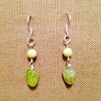 Custom Made New Earrings Handmade, Drop/Dangle With Olive Quartz, Jade, Silver-99.9 Stylish
