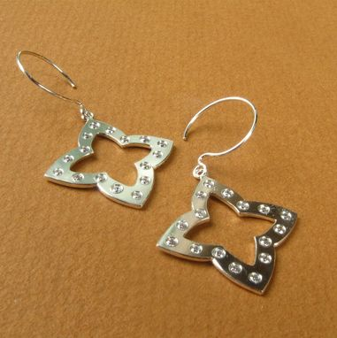Custom Made Sterling Silver Compass Earrings With Cz