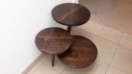 Custom Made Solid Walnut 3 Tier Mid Century Style End Table