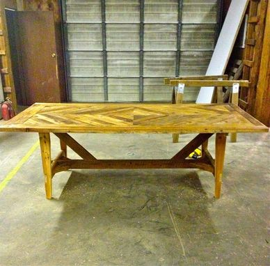 Handmade Reclaimed Old Wood Diamond Design Dining Table By Little Blue House Furniture Custommade Com