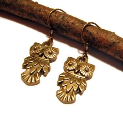 Custom Made Bronze Pointy Owl Earrings