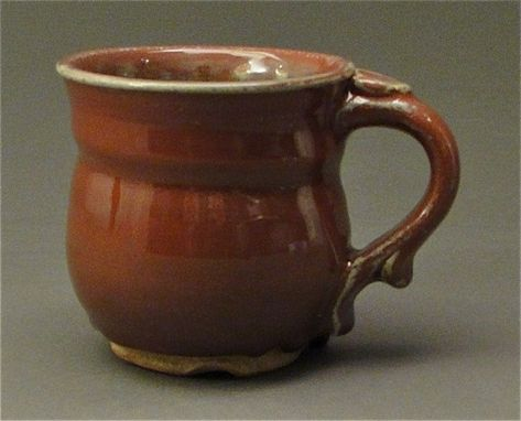 Custom Made Stoneware Pottery Mug With Copper Red Glaze, (Sku 28)