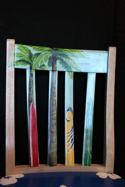 Custom Made Hand Painted Hawaiian Print Surfboard Chair