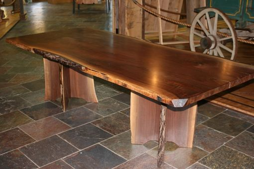 Handmade live edge walnut slab dining table by corey morgan wood works for Live edge slab dining room table