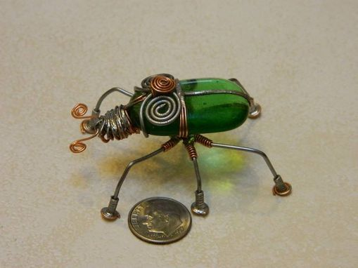 Custom Made Recycled Glass And Wire Beetle