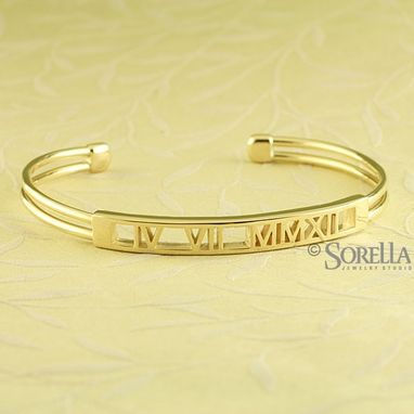 "Custom Made Roman Numeral ""Pierced"" Cuff Bracelet In Sterling Silver"