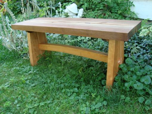 Custom Made Live Edge Asian Style Garden Bench
