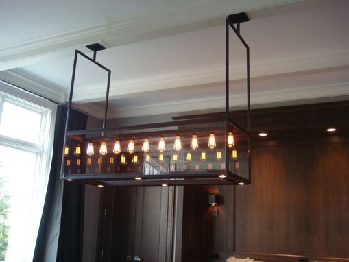 Custom Made Lighting - Modern Custom Steel & Glass Chandelier