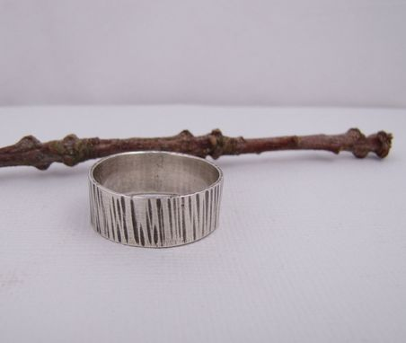 Custom Made Wide Silver Ring Band - Hammered Sterling Silver Ring - Modern Rustic Textured Band