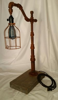 Custom Made Streetlight Table Lamp W/ Cage