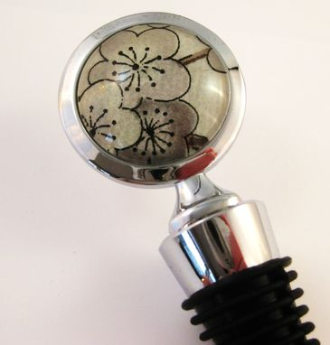 Custom Made Wine Stopper With Grey Plum Blossoms Design