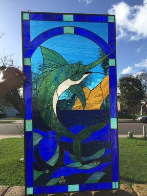Custom Made Wow! Blue Marlin Stained Glass Window