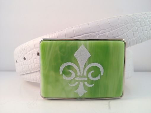 Custom Made Fleur De Lis Fused Glass Belt Buckle