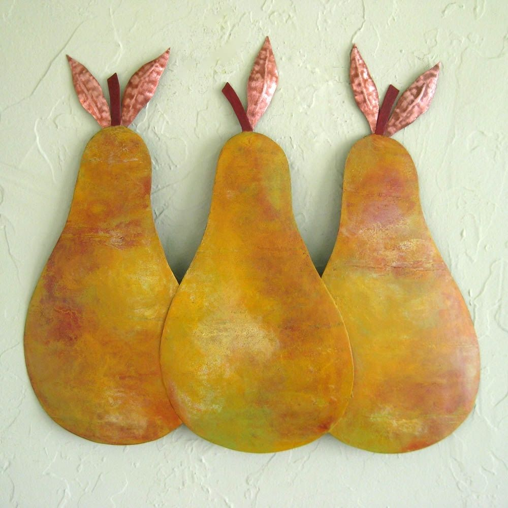 Custom Handmade Upcycled Metal Pear Trio Wall Art by Frivolous ...