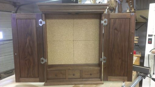 Custom Made Walnut Dart Board Cabinet