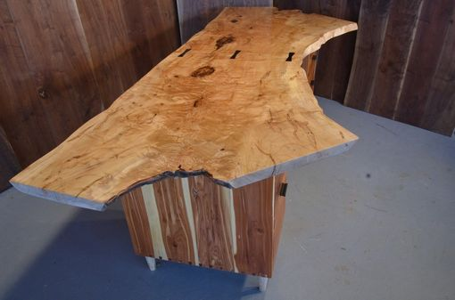 Custom Made 7' Maple Crotch Desk With Aromatic Cedar Drawers And Ebony Pulls