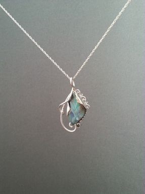 Custom Made Boulder Opal And Blue Diamond Silver Filigree Pendant