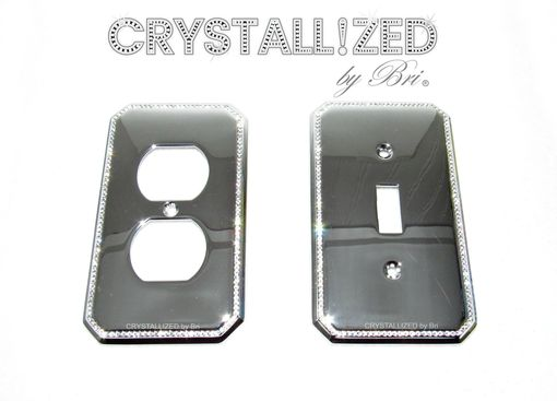 Custom Made Perimeter Crystallized Switch Plate Toggle Rocker Outlet Decor Bling Swarovski Crystals Bedazzled