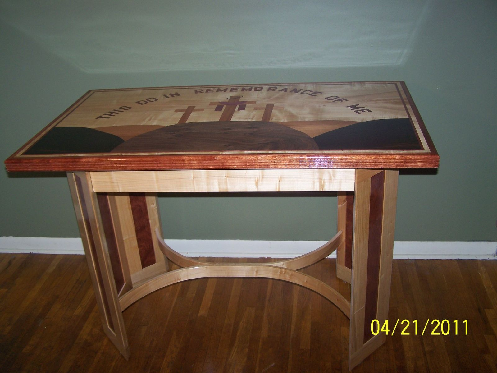 hand made communion tablebob peters custom woodworking