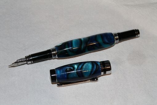 Custom Made Classic Fountain Pen - Acrylic Blue Swirl